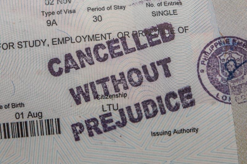 Visa décommandé photo stock