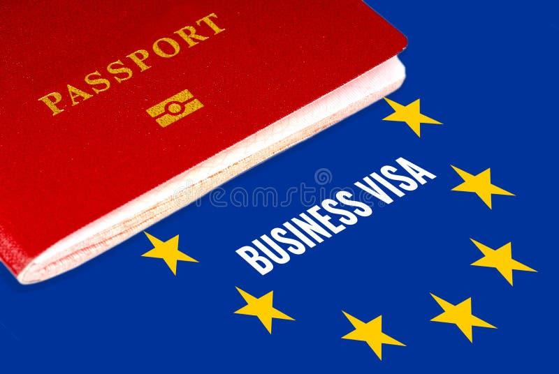 Visa d'affaires avec le drapeau et le passeport d'Eu photos libres de droits