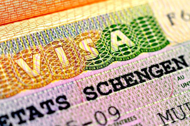 Visa de Schengen fotografía de archivo libre de regalías