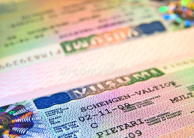 Visa de Shengen del consulado finlandés foto de archivo libre de regalías