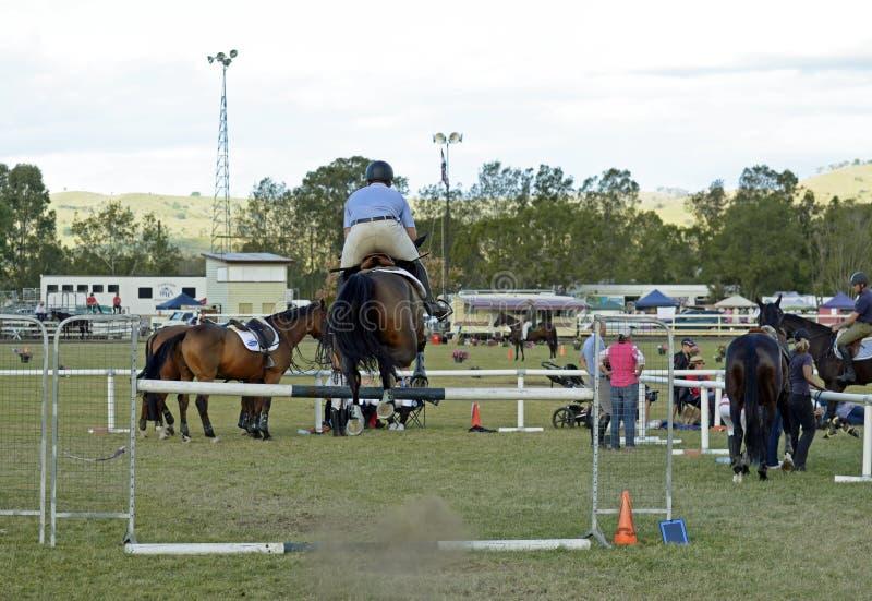 Visa den häst- & för kursen för hinder för ryttarebanhoppninghäckar landsmässan royaltyfria foton