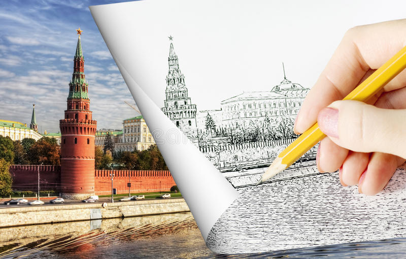 visa den moscow blyertspennan skissa royaltyfri fotografi