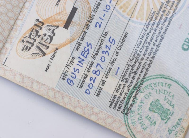 Visa indien d'affaires photos libres de droits