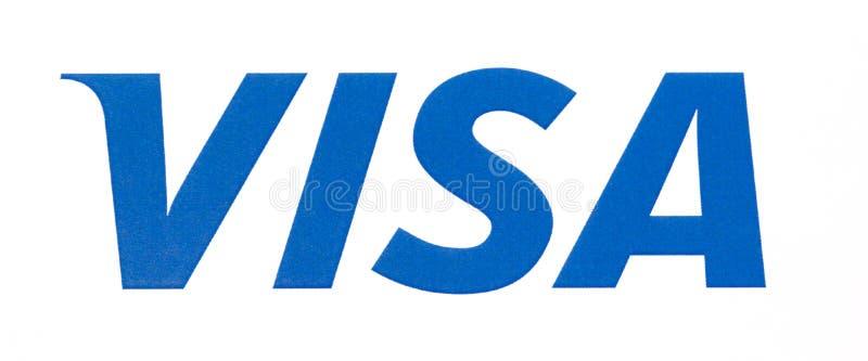 Visa logo printed on the paper. Chisinau, Moldova - September 19, 2018: Visa logo printed on the paper and placed on white background.Visa - American stock images