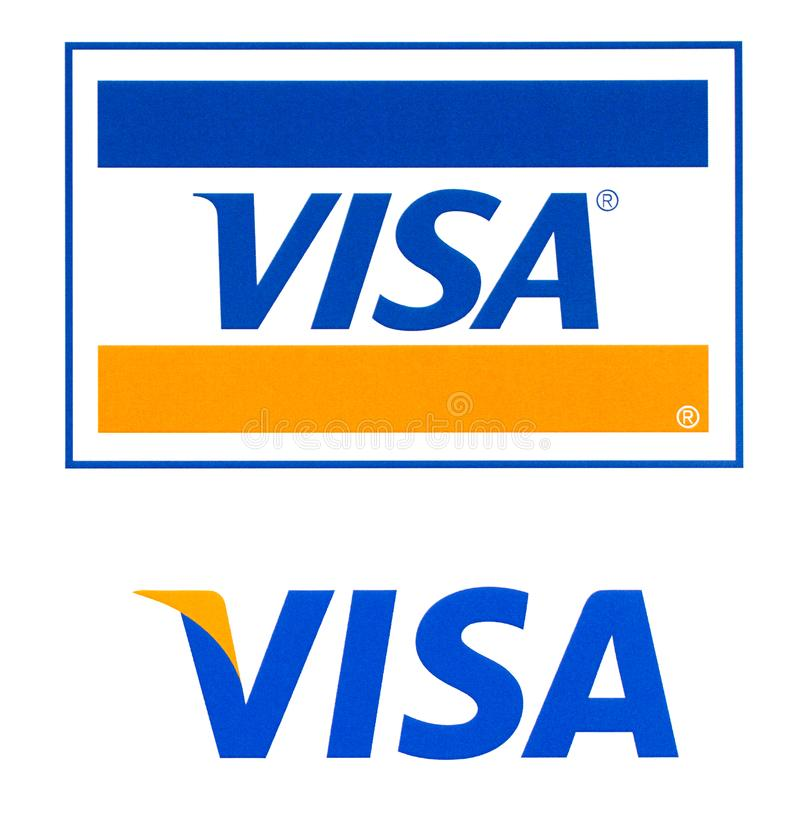 Visa logo printed on the paper. Chisinau, Moldova - September 19, 2018: Visa logo printed on the paper and placed on white background.Visa - American stock photo