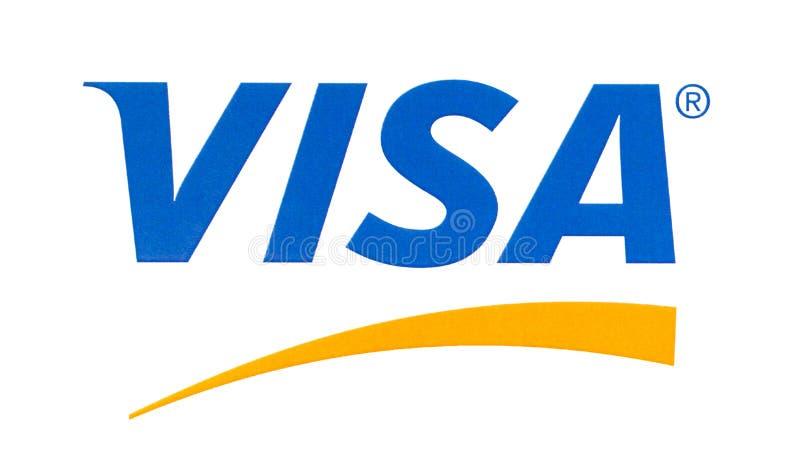 Visa logo printed on the paper. Chisinau, Moldova - September 19, 2018: Visa logo printed on the paper and placed on white background.Visa - American royalty free stock image