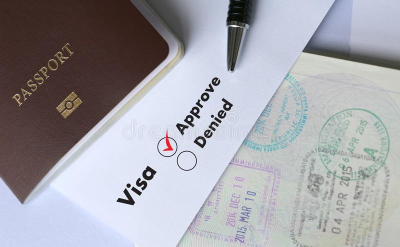 Visa and passport to approved stamped on a document top view in stock images