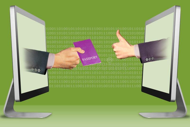 Visa que procesa el concepto, dos manos de monitores pasaporte y pulgares para arriba, como ilustración 3D ilustración del vector