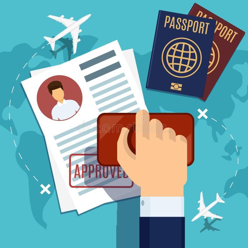 Visa stamping. Stamp on passport application vector illustration