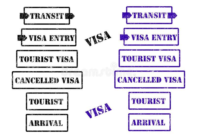 Visa stamps - cdr format. Set of stamps regarding visa in two colors royalty free illustration