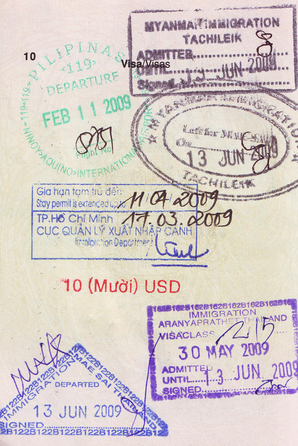 visa stamps on passport royalty free stock image