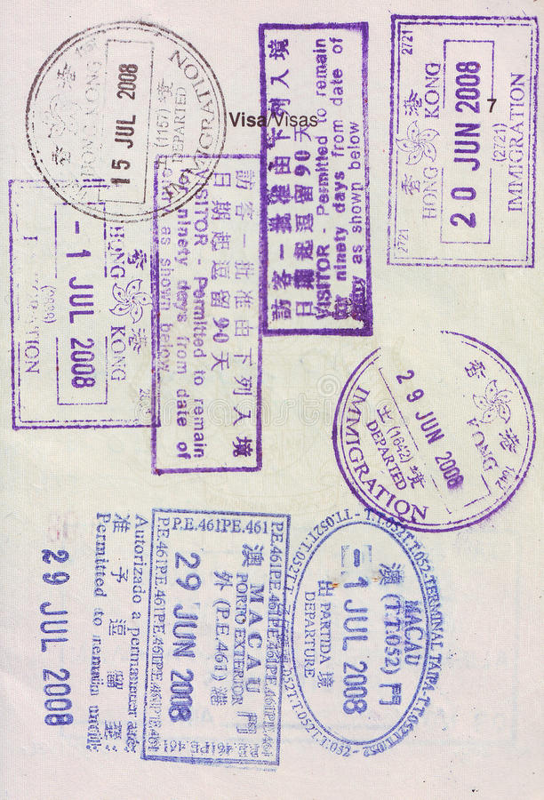 visa stamps on passport stock images