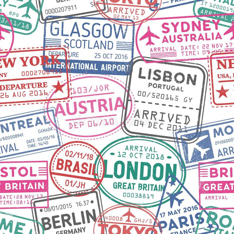 Visa stamps vector seamless pattern. Austria, Glasgow, London, Brasil, Sydney colorful stamps backdrop. Visited stock illustration