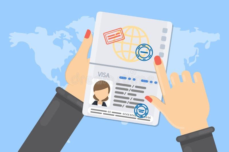 Visa of woman. stock illustration