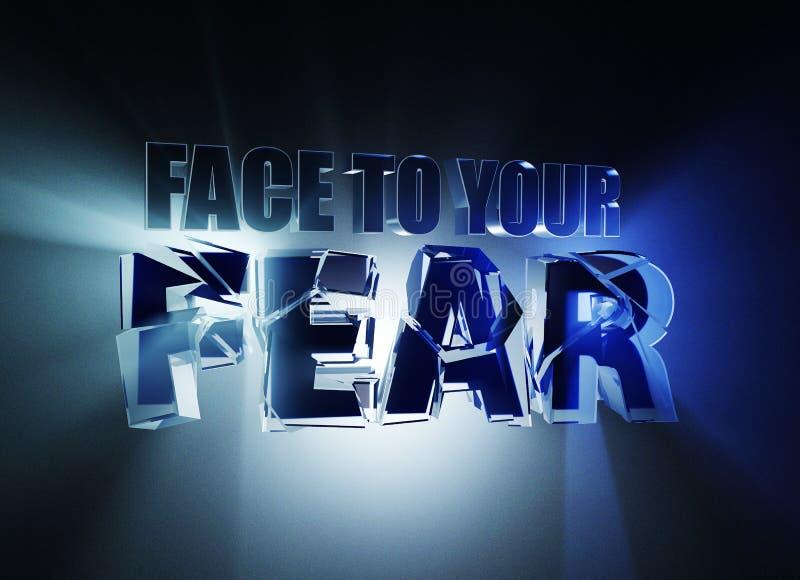 Visage à votre crainte concept de construction de bannière de l'illustration 3d, sur le fond bleu-foncé illustration stock