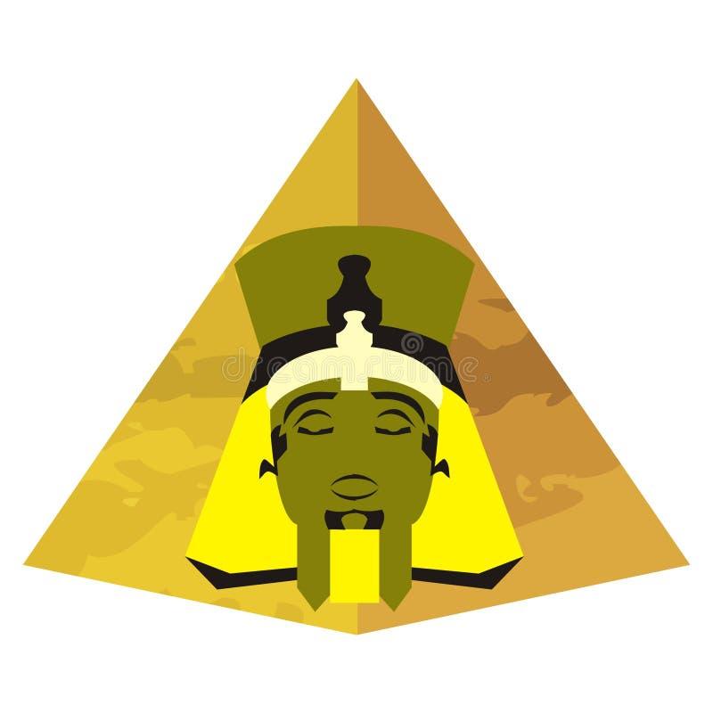 Visage égyptien en une pyramide illustration de vecteur