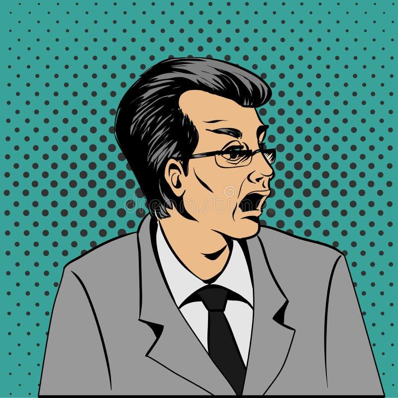 Visage étonné d'homme d'art de bruit de wow Illustration d'art de bruit d'un style comique illustration stock