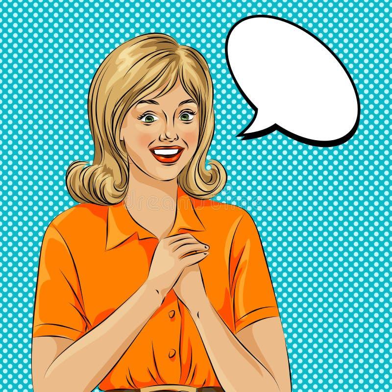 Visage étonné de femme d'art de bruit de bulle de wow Illustration d'art de bruit d'un style comique, bulle de la parole de fille illustration libre de droits
