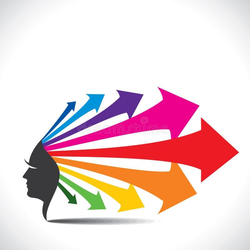Visage abstrait avec les cheveux colorés de flèche illustration de vecteur