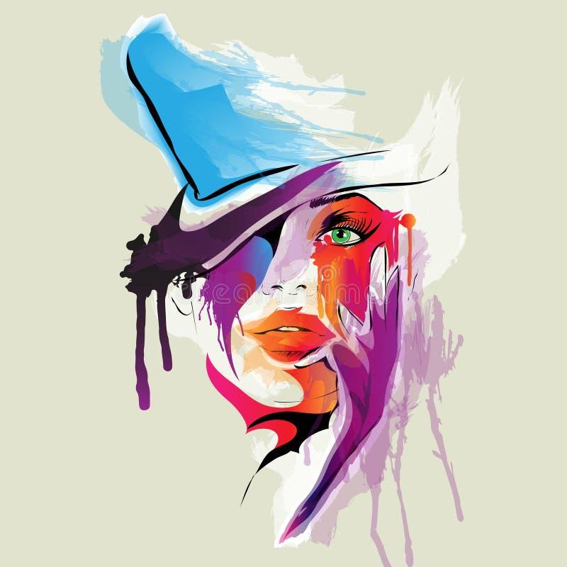 Visage Abstrait De Femme Illustration De Vecteur. Image Du
