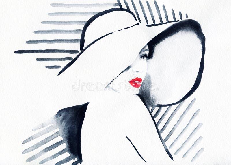 Visage abstrait de femme Fond de mode illustration de vecteur