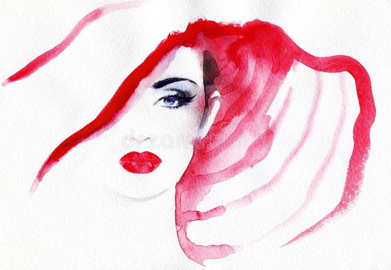 Visage abstrait de femme Fond de mode illustration libre de droits
