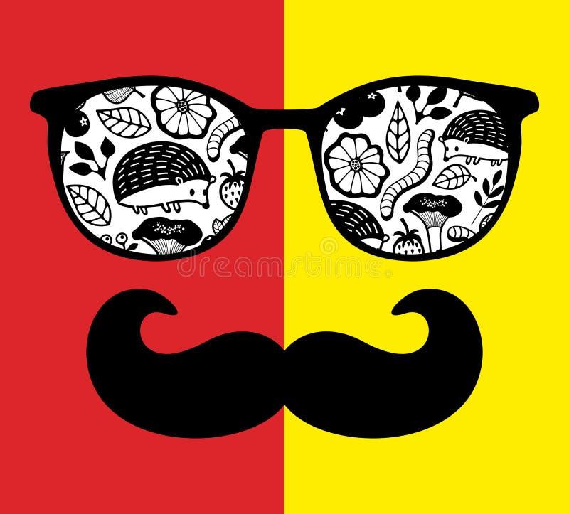 Visage abstrait de l'homme en verres avec des moustaches illustration de vecteur