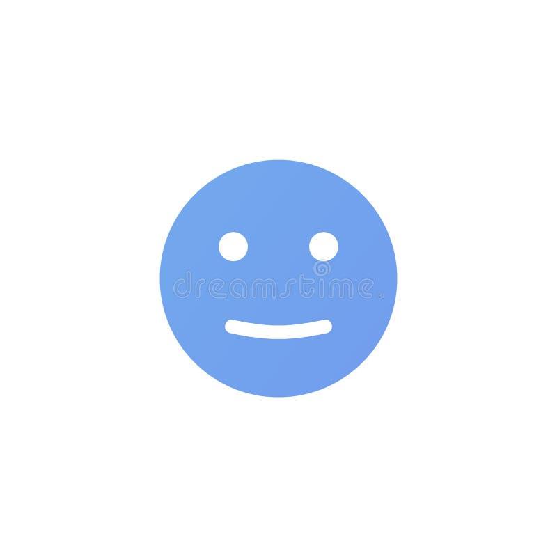 Visage anthropomorphe d'émotion satisfaisante Smiley bleu d'isolement sur un fond blanc illustration de vecteur