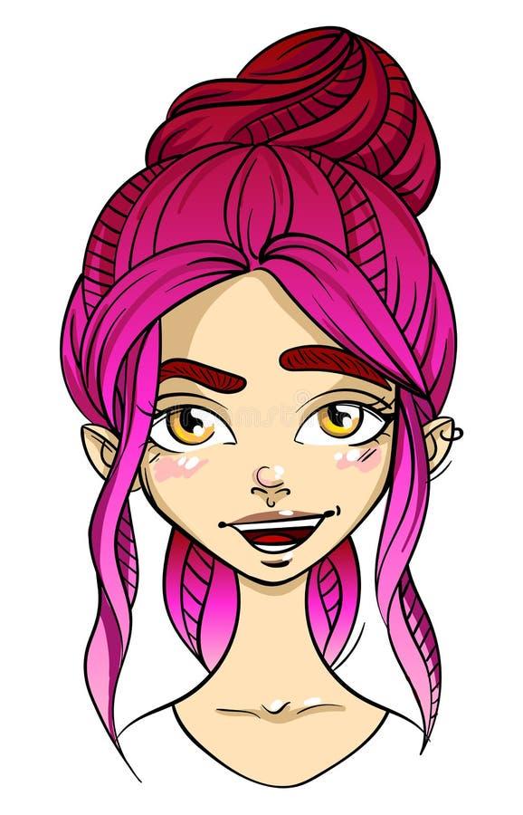 visage aux cheveux roses de fille, expression du visage de flirt de sourire illustration stock
