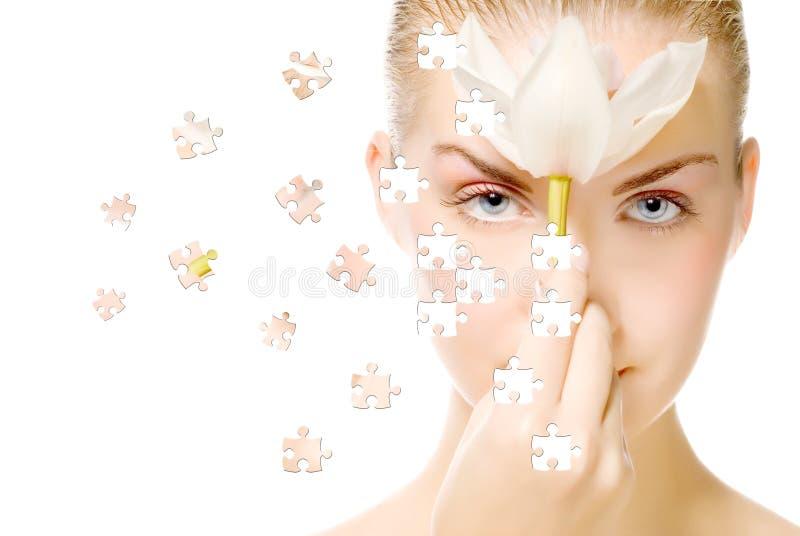 Visage avec l'effet de puzzle photos stock