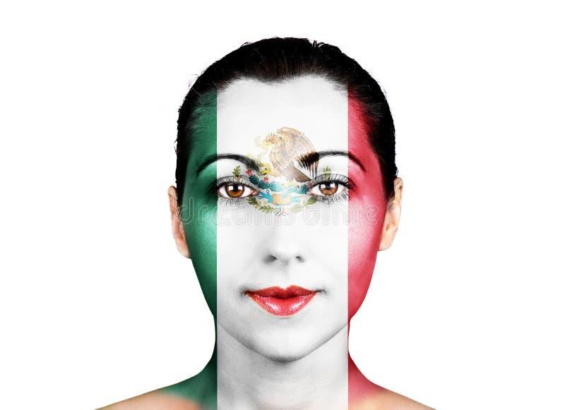 Visage avec le drapeau du Mexique images stock