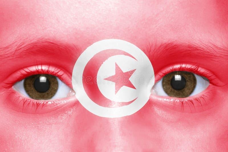 Visage avec le drapeau tunisien images libres de droits