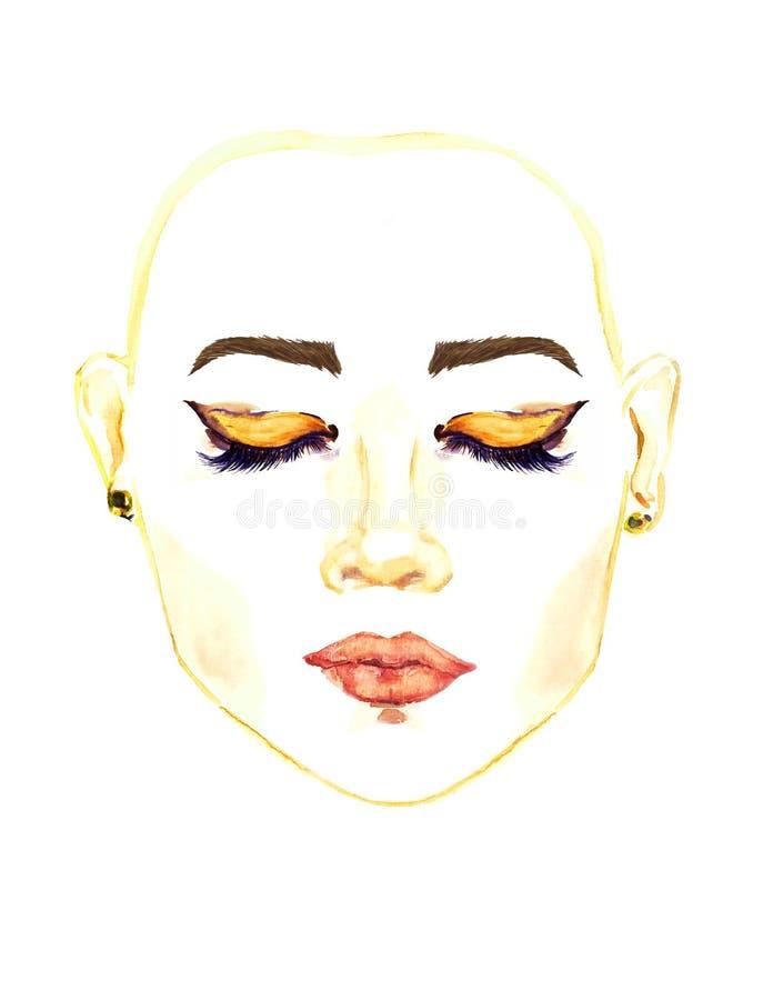 Visage avec les yeux en forme d'amande orientaux fermés avec le maquillage, fards à paupières bruns d'or, contour noir, mascara,  illustration de vecteur