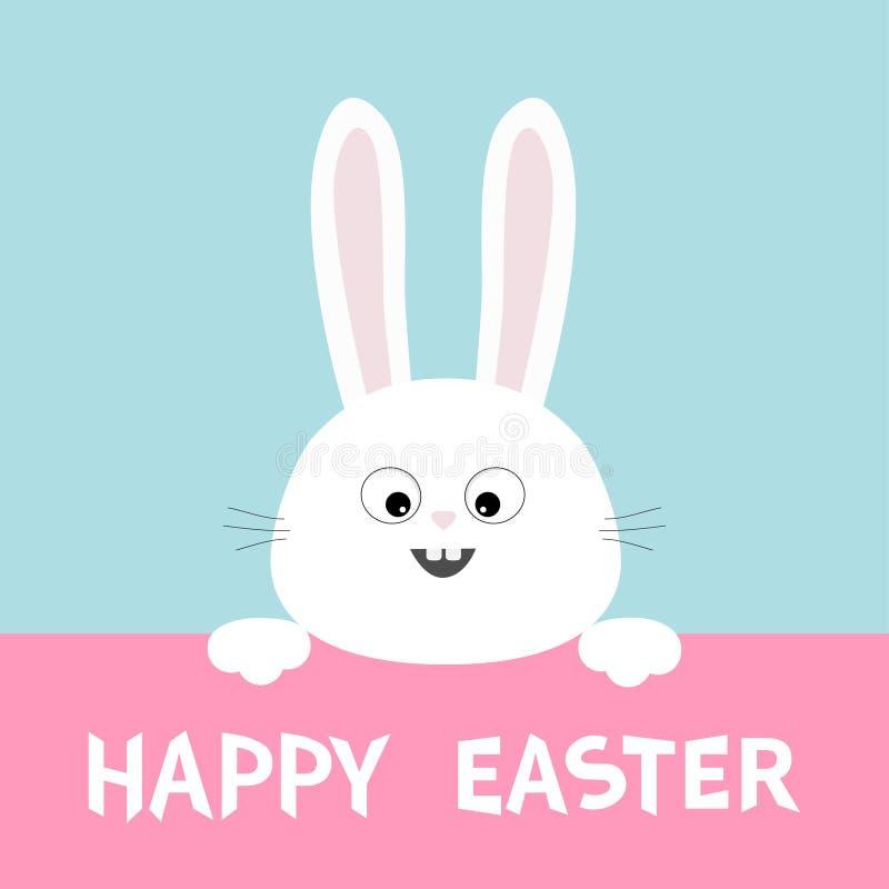 Visage blanc de tête de lapin accrochant sur le carton rose Joyeuses Pâques Paw Print Grandes oreilles Caractère drôle de bande d illustration de vecteur