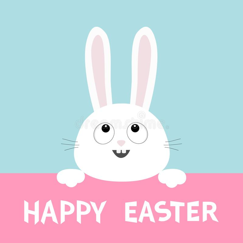 Visage blanc de tête de lapin recherchant accrochant sur le carton rose Joyeuses Pâques Paw Print Grandes oreilles Charact drôle  illustration de vecteur