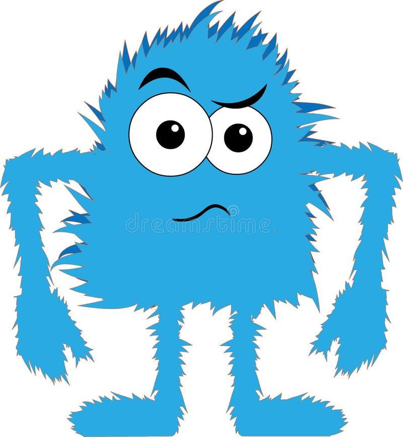 Visage bouleversé de monstre velu bleu illustration de vecteur