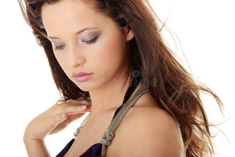 Visage caucasien de femme de beauté images stock