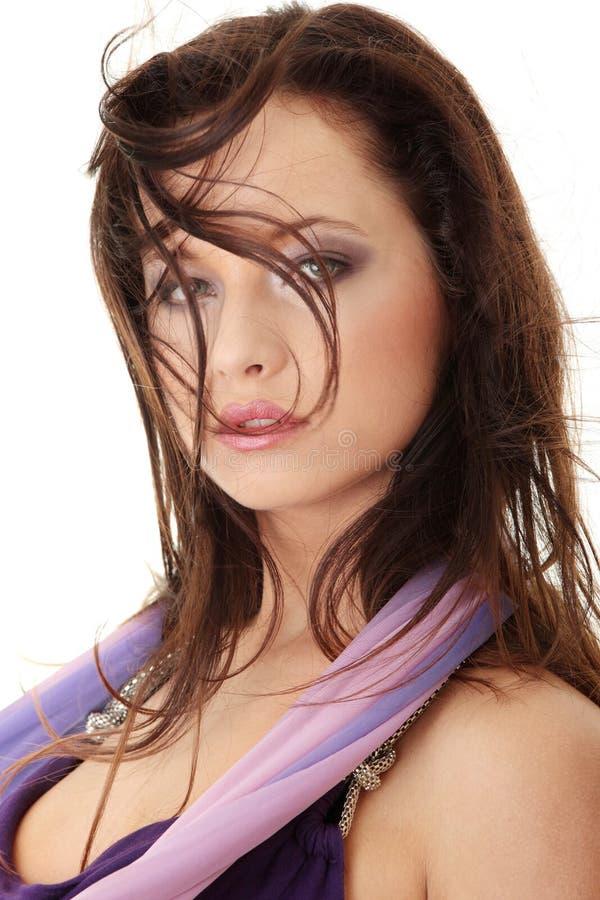 Visage caucasien de femme de beauté photographie stock