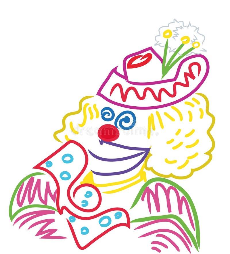Visage coloré de clown illustration libre de droits