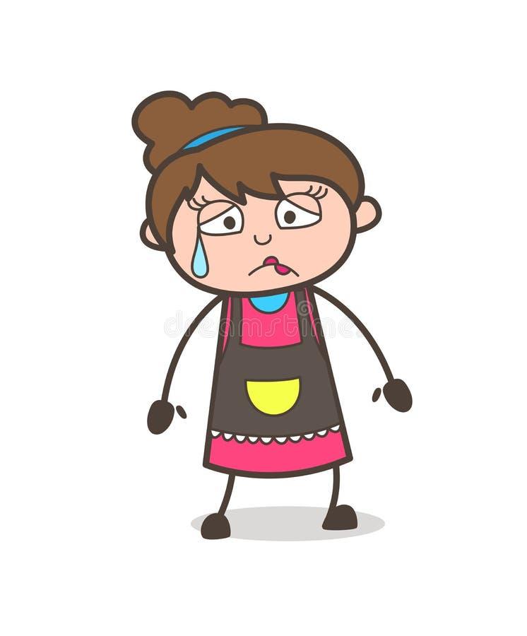 Visage déçu avec la sueur - vecteur de Girl Artist Cartoon d'esthéticien illustration stock