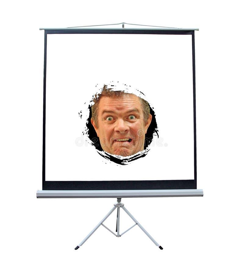 Visage d'écran de projecteur d'horreur image libre de droits