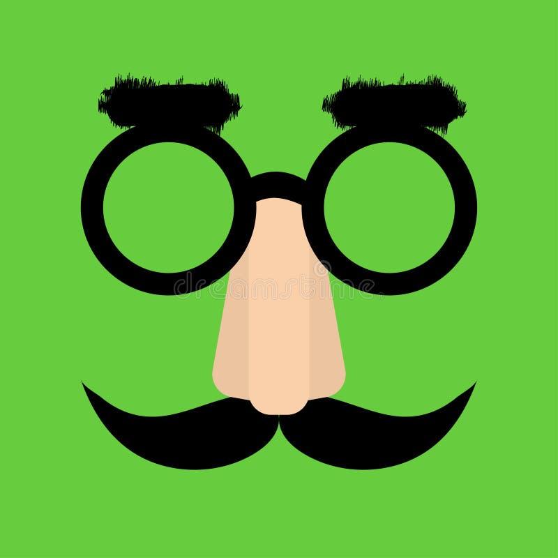 Visage d'amusement avec le nez, verres, sourcils illustration de vecteur