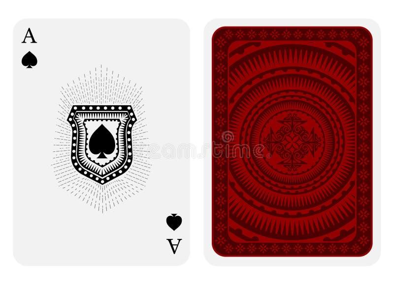 Visage d'as de pique avec des pelles à l'intérieur de bouclier avec les raies et l'arrière avec le costume rouge de modèle Calibr illustration stock