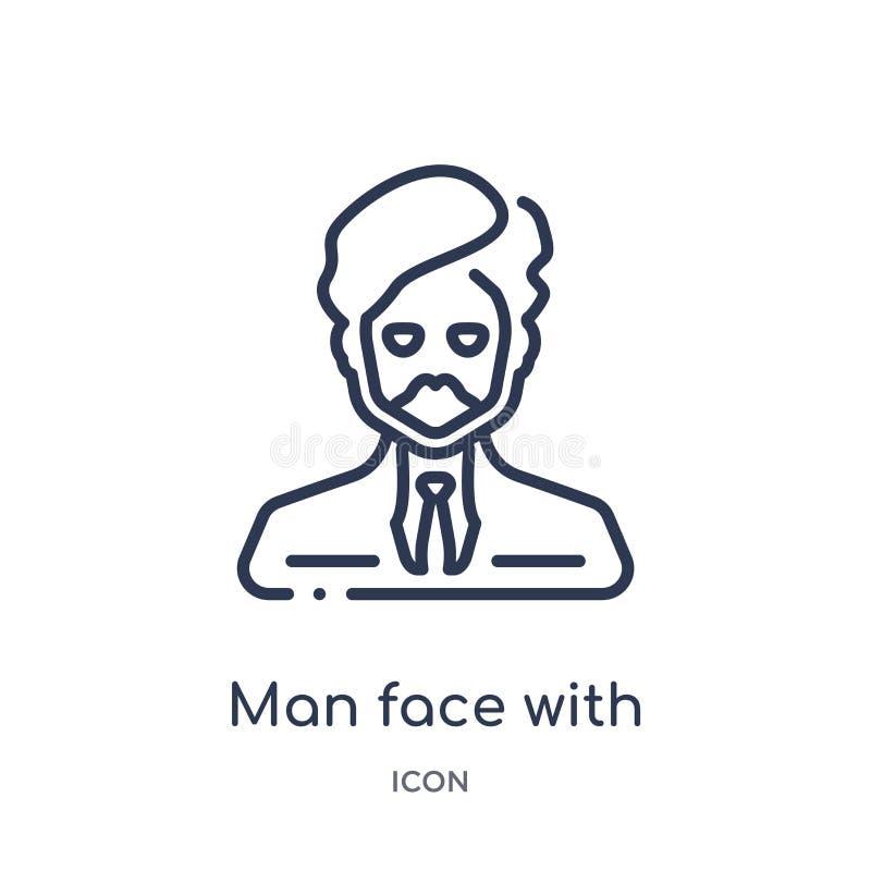 visage d'homme avec l'icône de turban et de barbe de la collection d'ensemble de personnes Ligne mince visage d'homme avec l'icôn illustration libre de droits