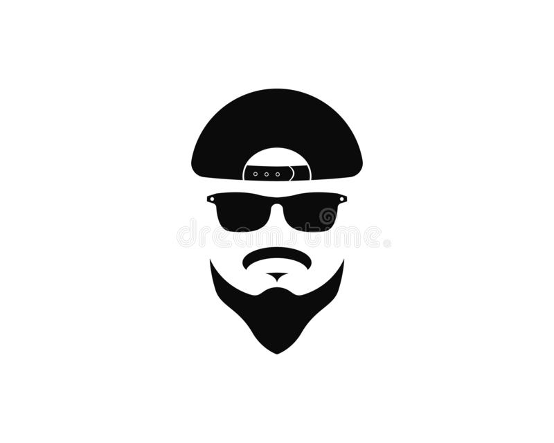 visage d'homme avec l'illustration d'icône de vecteur de calibre de logo de barbe et de chapeau illustration stock