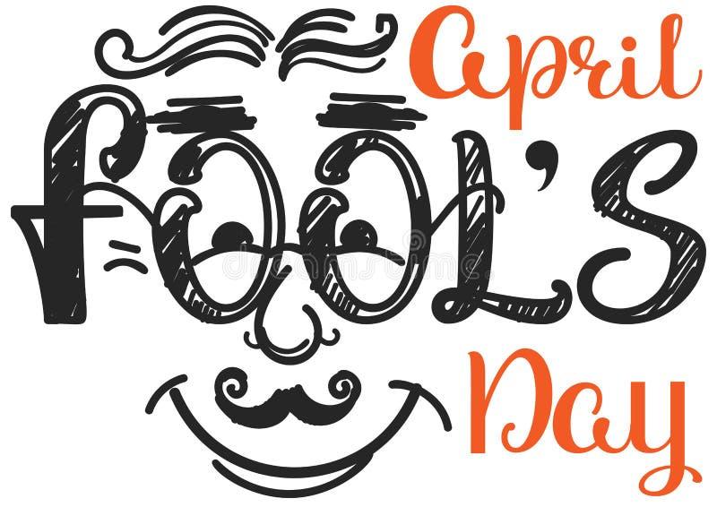 Visage d'homme de sourire de jour d'imbéciles d'avril Type texte d'illustration de griffonnage illustration stock