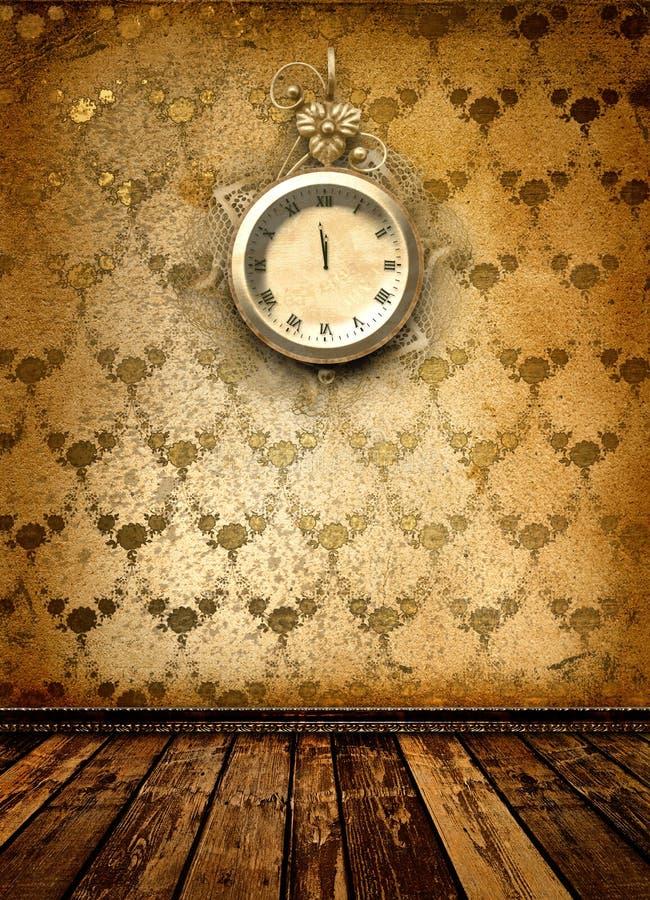 Visage d'horloge antique avec le lacet sur le mur illustration de vecteur