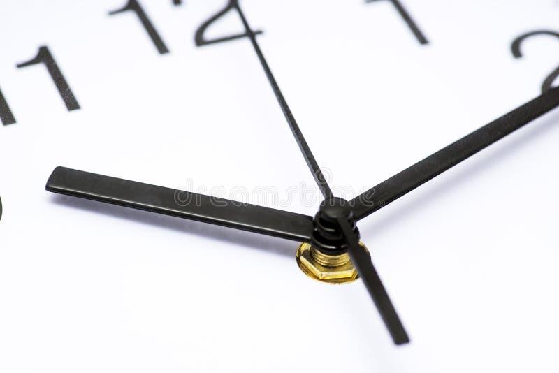 Visage d'horloge Fermez-vous sur dans le sens horaire blanc au moment de l'exécution d'isolement par concept de fond Concept de t photo stock