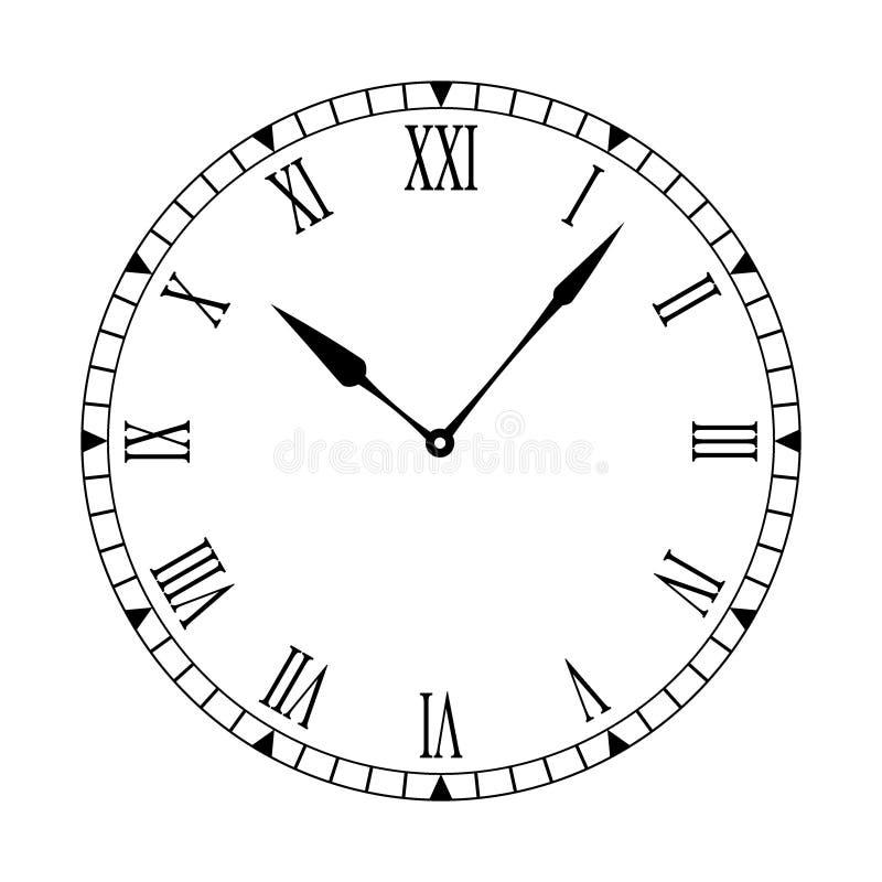 Visage d'horloge propre romain illustration libre de droits