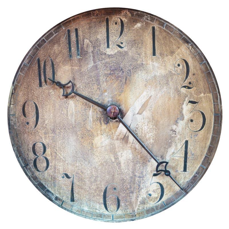 Visage d'horloge superficiel par les agents par vintage d'isolement sur le blanc photos stock